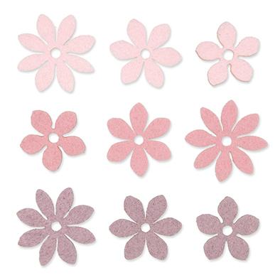 Vilt Bloemetjes, Roze/Lila/Licht Roze, 36 stuks