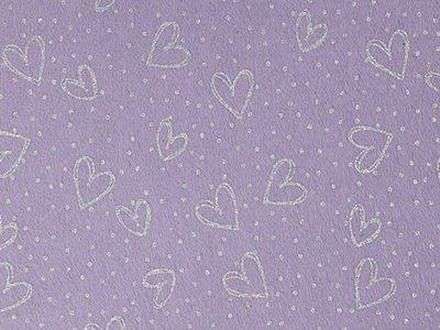 Glitter Vilt Hartjes, 20 x 30 cm, Lila/Zilver, 1mm dikte