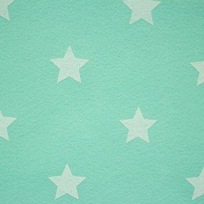 Vilt 3 mm dik mint met witte sterren 90 cm breed per meter