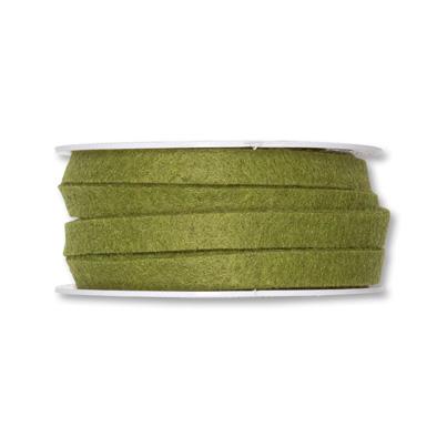 Vilt band 1 cm breed olijf groen 5 meter op rol, per rol
