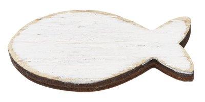 Houten visjes bol wit 5 stuks in een zakje