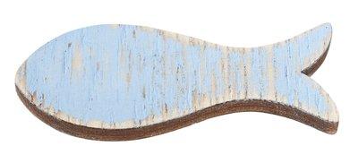 Houten visjes lang blauw 5 stuks in een zakje