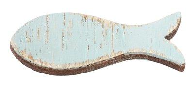 Houten visjes lang aqua 5 stuks in een zakje