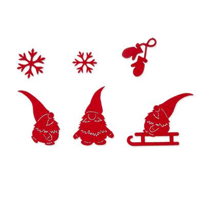 Vilten Kerst Kabouters set, Rood