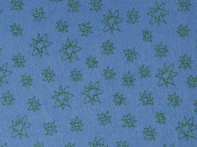 Glitter Vilt Sterren, 20 x 30 cm, Blauw/Groen, 1mm dikte