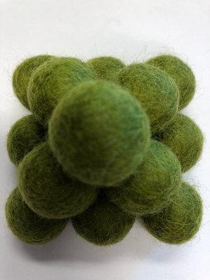 Vilt balletjes 20 mm, Olijf Groen 10 st.