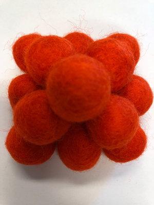 Vilt balletjes 20 mm, Oranje 10 st.