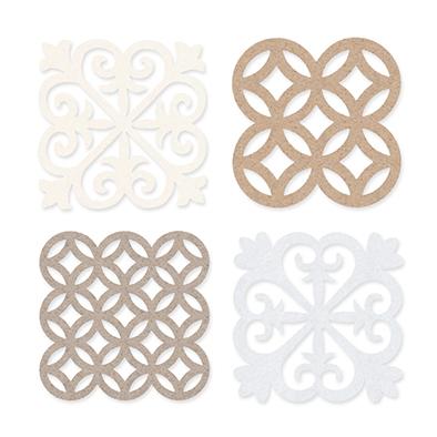 Vilt Tegeltjes, Wit/Crème/Beige/Linnen 4 stuks