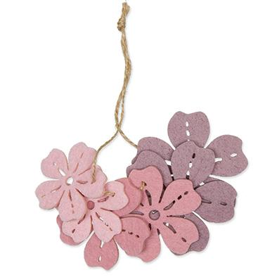 Vilt Bloemen, Roze/Lila/Licht Roze 6 stuks