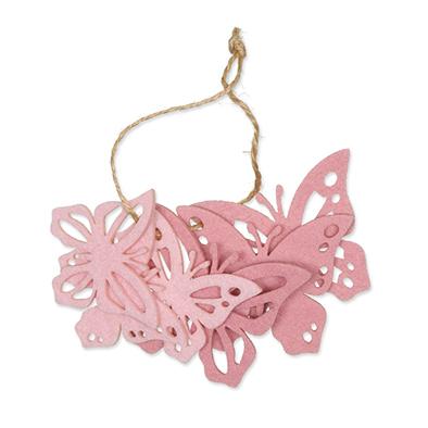 Vilt Vlinders Roze/Licht Roze, 6 stuks