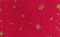 Vilt Print Kerst, Glitter sterren, Rood/Goud, 30 x 40 cm