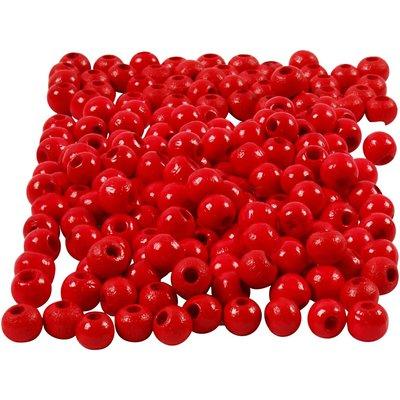 Houten kraaltjes rood 5 mm doorsnee circa 150 stuks per zakje