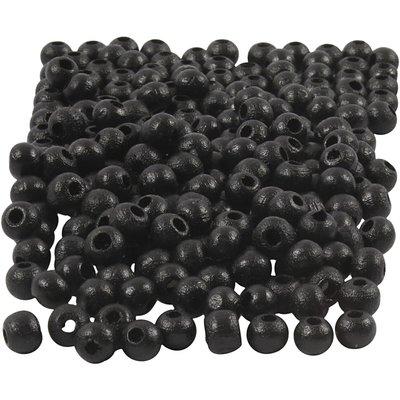 Houten kraaltjes zwart 5 mm doorsnee circa 150 stuks per zakje