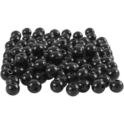 Houten kraaltjes zwart 8 mm doorsnee circa 80 stuks per zakje