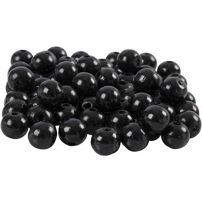 Houten kraaltjes zwart 10 mm doorsnee circa 70 stuks per zakje