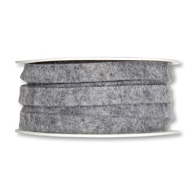 Vilt band 1 cm breed grijs gemeleerd 5 meter op rol, per rol