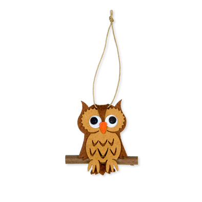 Vilt hanger uil bruin 5,5 x 7,5 cm per stuk
