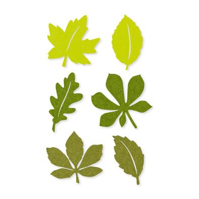 Vilt herfstblaadjes groen 12 stuks per zakje