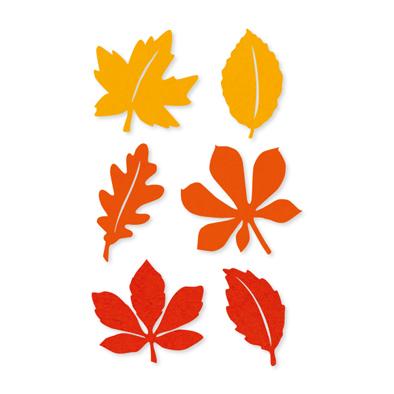 Vilt herfstblaadjes geel oranje 12 stuks per zakje