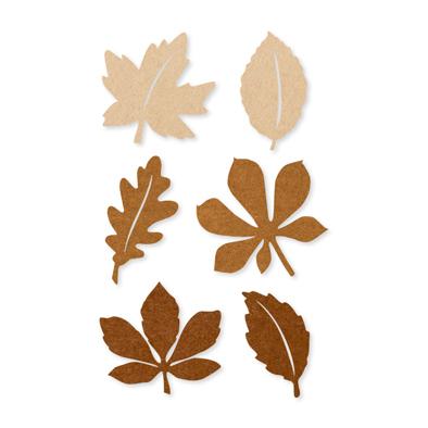 Vilt herfstblaadjes bruin 12 stuks per zakje