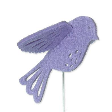 Vilt 3D vogel lila 8,5 cm groot per stuk