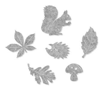 Vilt herfst figuurtjes grijs