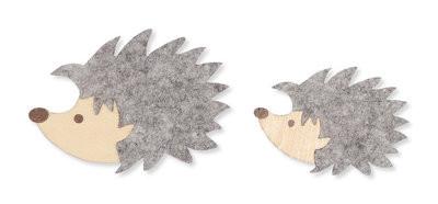 Vilt houten egeltjes grijs per zakje
