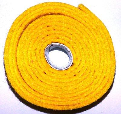 Vilt band op rol 2 cm breed 1,5 meter lang geel