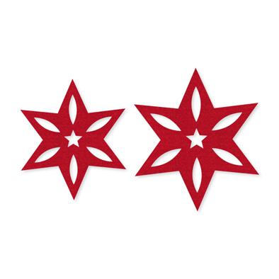 Vilt deco sterren, Rood, 4 st. per verpakking