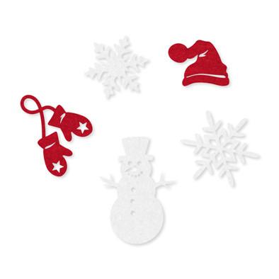 Vilt figuurtjes set winter rood wit per zakje