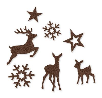 Vilt figuren Winter, Donker Bruin, 21 st. per verpakking