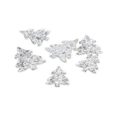 Glitter boompjes, Zilver ,24 st. per verpakking