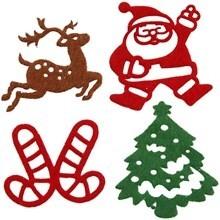 Vilt stickers kerst figuren 24 assorti