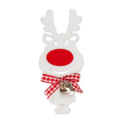 Rudolf, Wit, met bel, 2 stuks per zakje