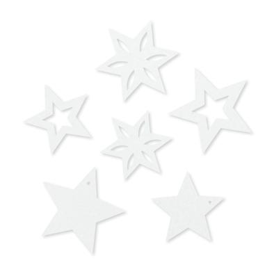 Vilt Sterren, Wit, 6 stuks
