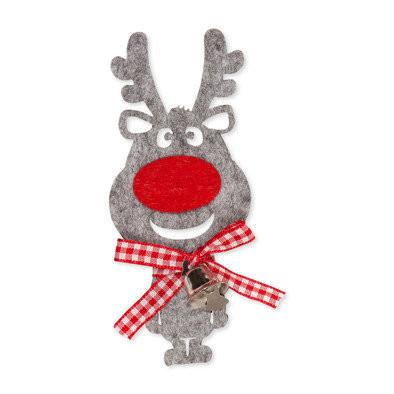 Rudolf, Grijs met bel, 2 stuks per zakje