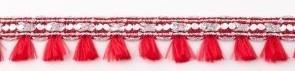 Flosjesband Rood/Zilver per meter