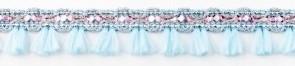 Flosjesband blauw roze per meter