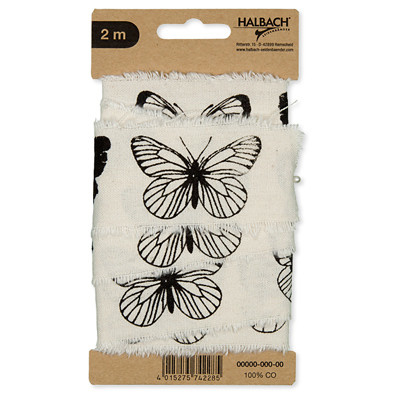Vintage lint katoen print vlinders