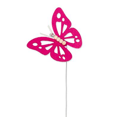 Vilt vlinder fuchsia op steker per stuk