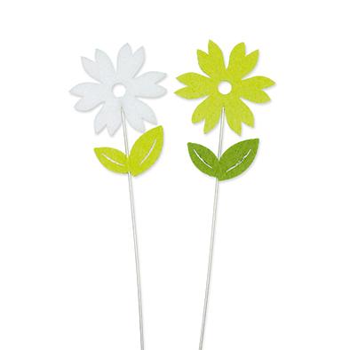 Vilt bloemetjes wit en groen op steker 2 stuks per setje