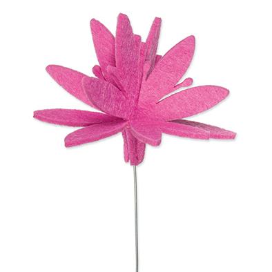 Vilt bloem op steker roze per stuk