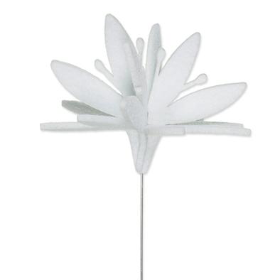 Vilt bloem op steker wit per stuk