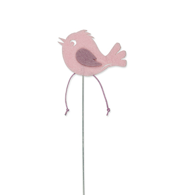 Vilt vogel op steker roze per stuk