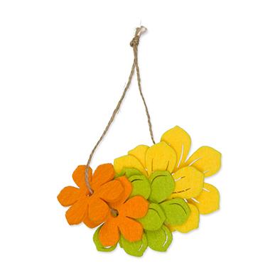 Vilt bloemen oranje, geel en groen 6 stuks per setje