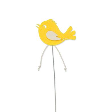 Vilt vogel op steker geel per stuk