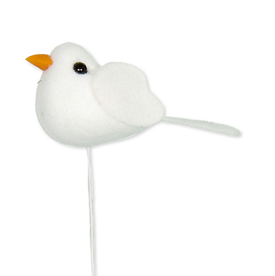 Mini vilt vogeltje wit op steker 4,8 x 2 cm per stuk
