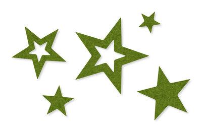 Vilt decoratie sterren Groen, 30 stuks