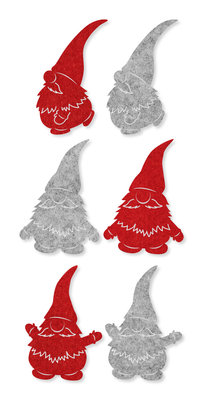 Vilt stickers Grappige Kerstmannetjes