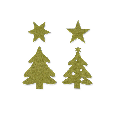 Vilten Kerstboompjes, Groen, 32 st. per verpakking